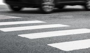 Car entering crosswalk
