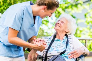 Senior receiving care