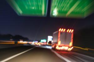 Blurred semi trucks