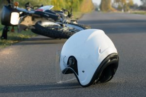 Motorcycle accident with helmet