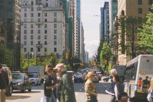 Pedestrians crossing a city street
