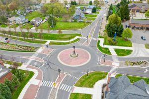 Roundabout with Pedestrian Crosswalks